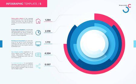 Modèle de graphique de cercle infographique vectoriel léger et soigné. Cinq options