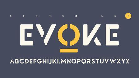 Vector sans serif urban stencil rounded letter set, cropped alphabet.  イラスト・ベクター素材