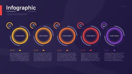 Stylish colorful vector infographic template with circular graphic elements on a deep blue background.