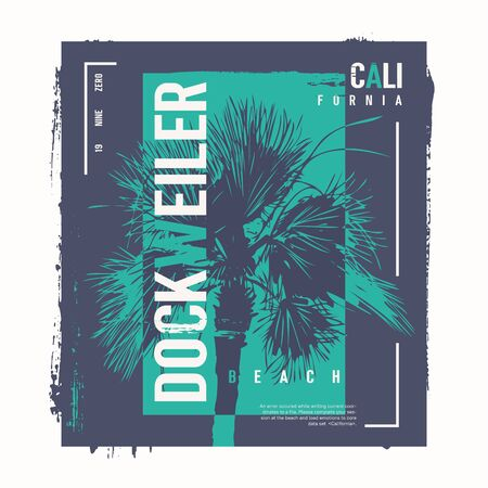 Dockweiler beach vector graphic t-shirt design, poster, print