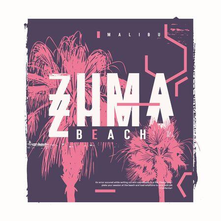 Zuma Beach vector graphic t-shirt design, poster, print