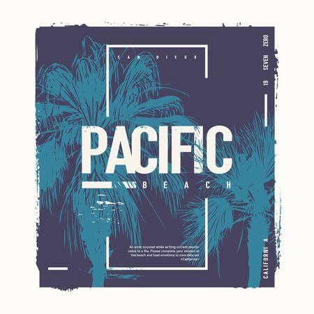 Pacific Beach California vector graphic t-shirt design, poster, print 일러스트