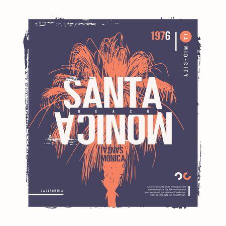 Santa Monica beach vector graphic t-shirt design, poster, print