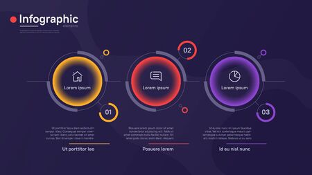 Vector infographic template with round graphic elements on a deep blue background. Three options Ilustracja