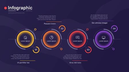 Vector infographic template with round graphic elements on a deep blue background. Four options Ilustracja
