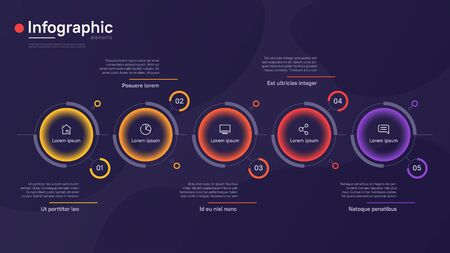 Vector infographic template with round graphic elements on a deep blue background. Five options