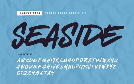 Expressive handwritten calligraphic vector brush letter set Çizim