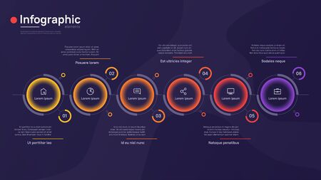 Vector infographic template with round graphic elements on a deep blue background. Six options