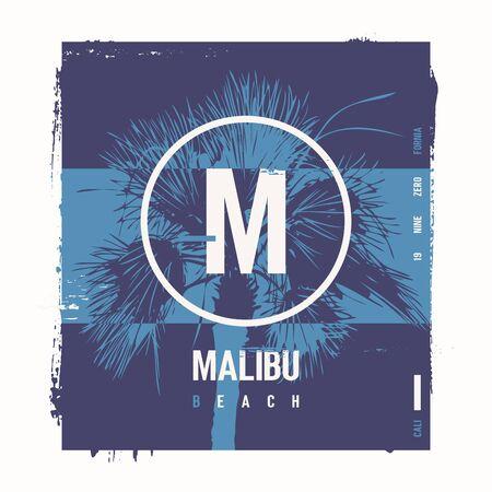 Malibu beach vector graphic t-shirt design, poster, print Vetores