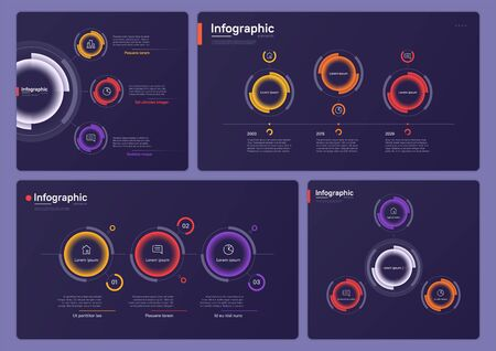 Collection of various vector infographic templates on a deep blue background. Three options