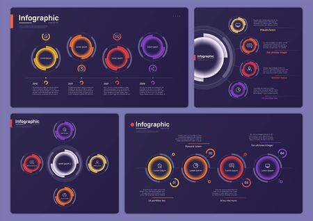 Collection of various vector infographic templates on a deep blue background. Four options