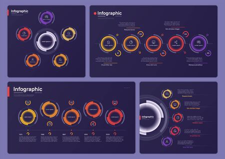 Collection of various vector infographic templates on a deep blue background. Five options