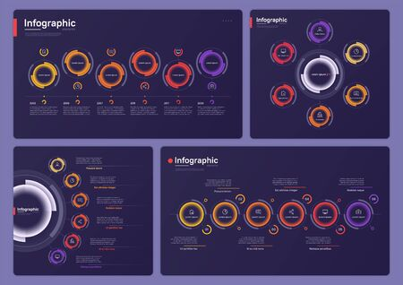 Collection of various vector infographic templates on a deep blue background. Six options Vettoriali