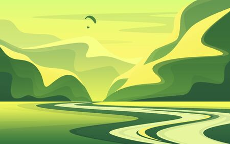 Mountain landscape with peaceful river valley in the summer. Vector illustration