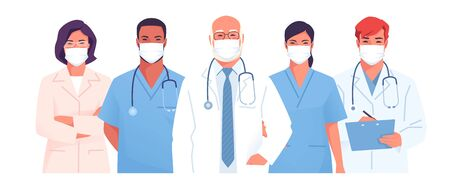 Vector illustration of a medical team, group of physicians, doctors wearing face masks Vettoriali