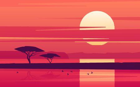 Coucher de soleil vif sur le lac africain. Illustration vectorielle Vecteurs