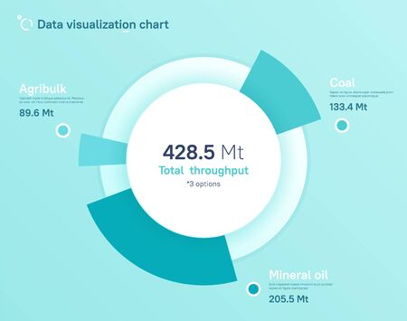 Vector pie chart design, modern template for creating infographics, presentations, reports, visualizations Vettoriali