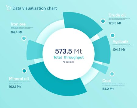 Vector pie chart design, modern template for creating infographics, presentations, reports, visualizations. Vettoriali