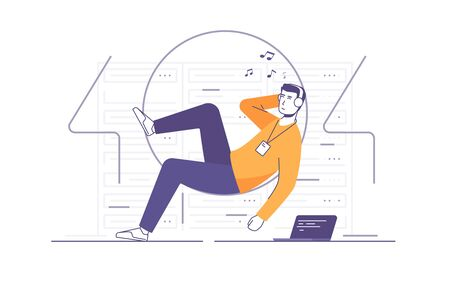Vector illustration of a relaxed it technician, network engineer listening to the music in a server room. 404 error page Vettoriali