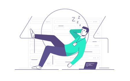 Vector illustration of a relaxed it technician, network engineer sleeping a server room. 404 error page