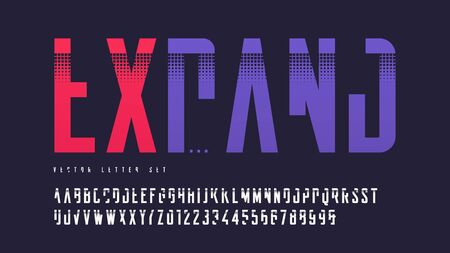 Cropped contemporary uppercase letter set, vector alphabet, typography