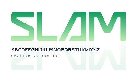 Contemporary geometric rounded uppercase letter set, vector alphabet, typography