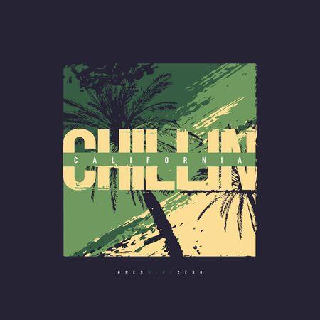Chillin California vector graphic t-shirt design, poster, print Vettoriali