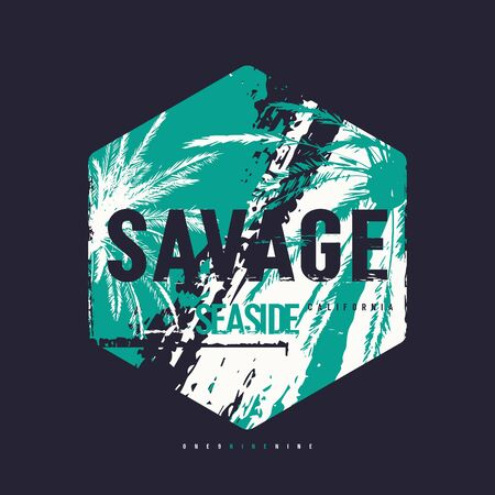 Savage seaside vector graphic t-shirt design, poster, print Vettoriali