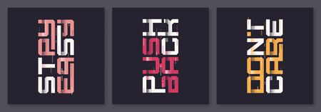 Set of graphic modern t-shirt vector designs, typography