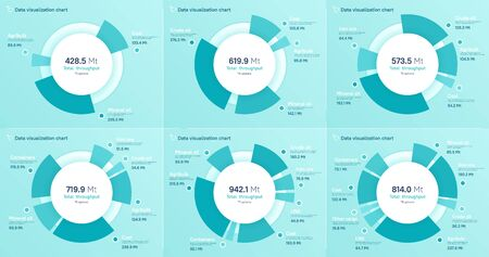 Set of vector pie chart designs, modern templates for creating infographics, presentations, reports, visualizations.