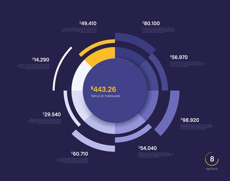 Vector circle chart design, modern template for creating infographics, presentations, reports, visualizations.