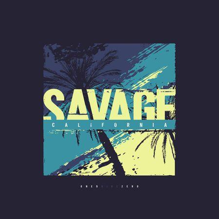 Savage California vector graphic t-shirt design, poster, print