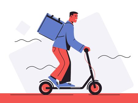 Vector illustration of a food delivery courier riding an electric scooter