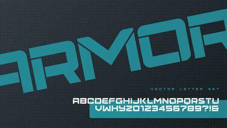 Vector sans serif urban rounded stencil letter set, cropped alphabet