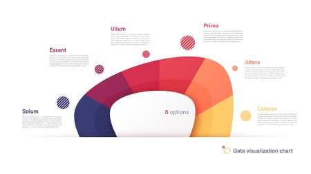 Vector pie chart infographic template in the form of abstract shape divided by six parts Vettoriali