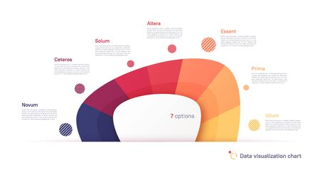 Vector pie chart infographic template in the form of abstract shape divided by seven parts