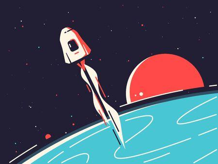 Vector illustration of a reusable spacecraft entering into orbit around the planet Vettoriali