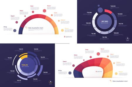 Set of vector circle chart designs, modern templates for creating infographics, presentations, reports, visualizations