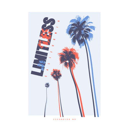 Limitless California vector graphic t-shirt design, poster, print