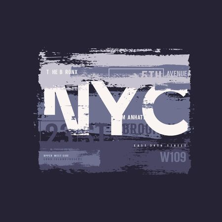 Vector graphic t-shirt design, poster, print on the theme of New York City Archivio Fotografico - 150197790