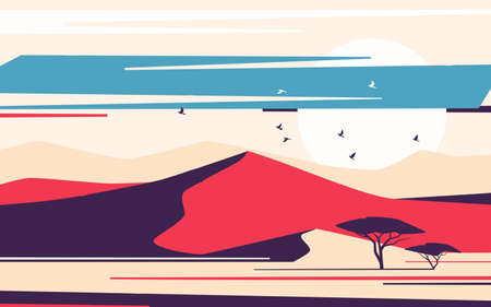 Bright sunrise over the desert sand dunes. Vector illustration