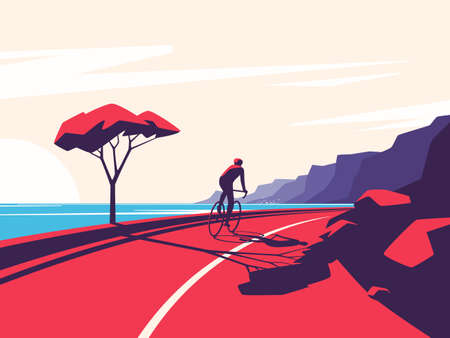 Vector illustration of a cyclist riding along the ocean mountain road