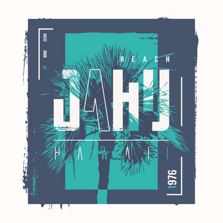 Hawaii Oahu beach vector t-shirt design, poster, print. 矢量图像