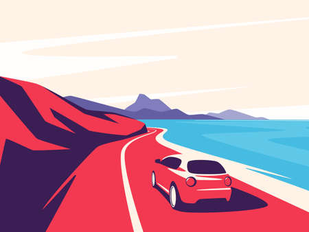 Vector illustration of a red car moving along the ocean mountain road.
