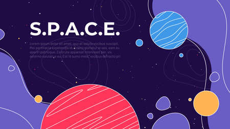 Vector illustration on the theme of outer space, interstellar travels, universe and distant galaxies