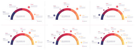 Vector circle chart designs, modern templates for creating infographics, presentations, reports, visualizations