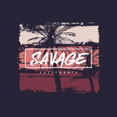 Savage California vector t-shirt design, poster, print