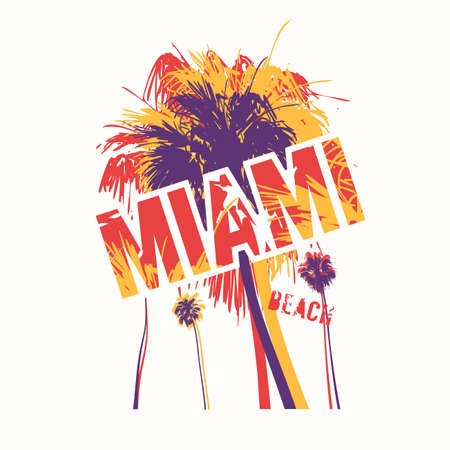 Miami beach colorful vector graphic t-shirt design, poster, print