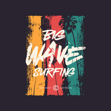 Big wave surfing t shirt vector design, poster, print, template