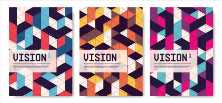 Set of isometric abstract covers, posters, background vector designs Illusztráció